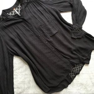 Free People The Best Button Down Crochet Black Top